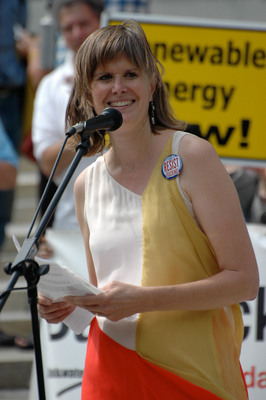 "Sandra Steingraber at an Anti-Fracking Rally in Albany, NY on August 27, 2012. ""Fracking is an extreme, dangerous, unsustainable form of energy extraction, like coal from mountaintop removal, and oil from tar sands and deep water drilling. We don't want it here in our beautiful New York."" Sandra, Michael Dineen, and Melissa Chipman Spend Earth Day in Jail for a Peaceful Blockade of Inergy's Salt Cavern Storage and Compressor Station Just Above Seneca Lake in the Finger Lakes of New York State.  (PRNewsFoto/Finger Lakes CleanWaters Initiative)"