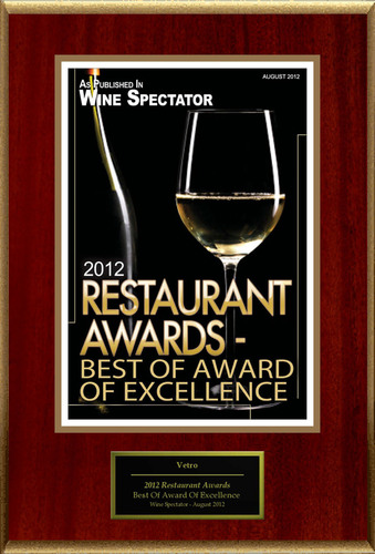 "Vetro Selected For ""2012 Restaurant Awards - Best Of Award Of Excellence"".  (PRNewsFoto/Vetro)"