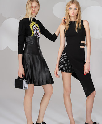 Model left wears Ashley Williams top and skirt with Julien David bag. Model right wears Anthony Vaccarello dress.