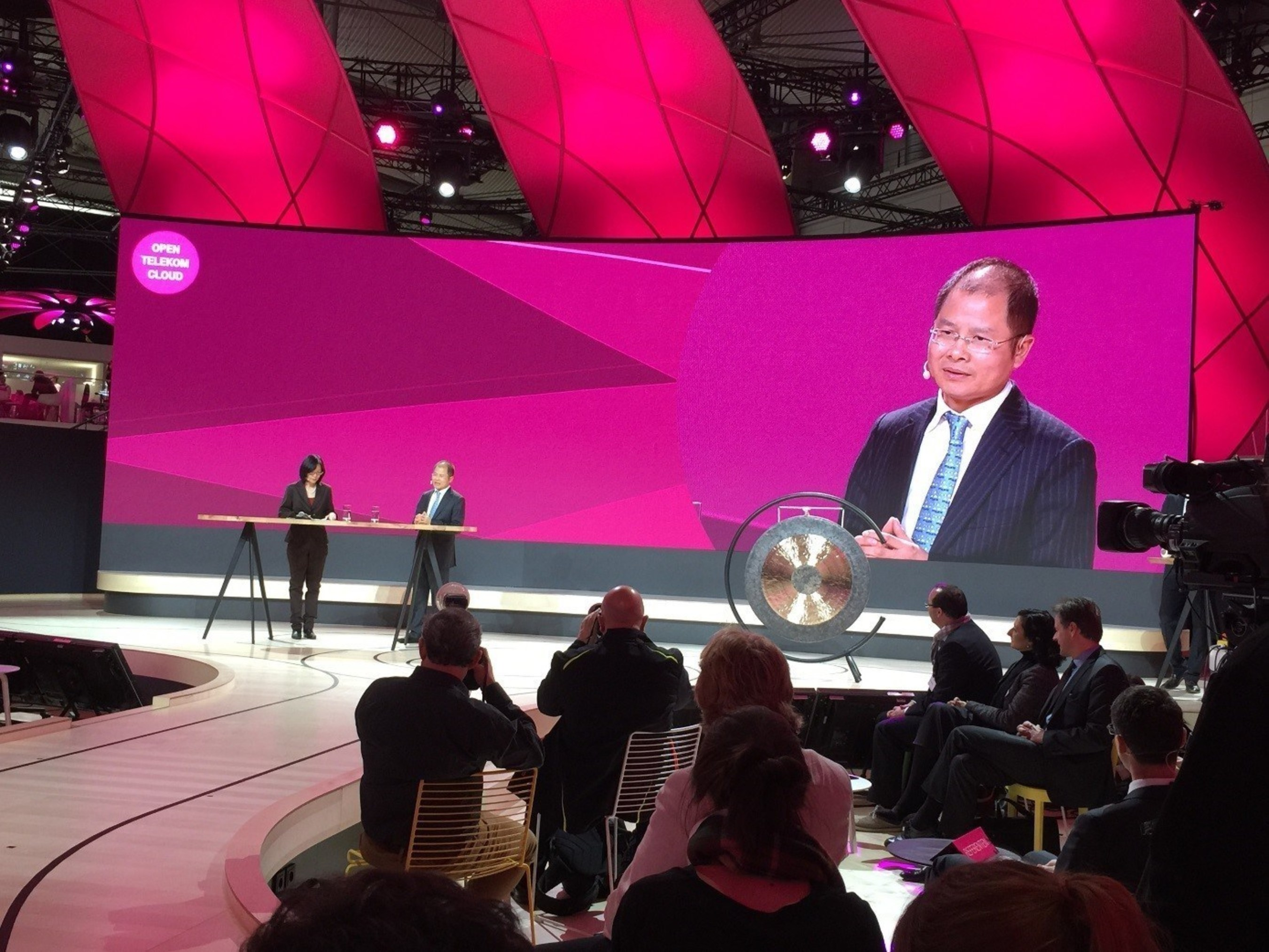 Huawei's Rotating CEO Eric Xu gave a speech at the press conference announcing the launch of Deutsche Telekom's Open Telekom Cloud.