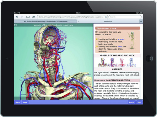 View of 3D head and neck anatomy on the iPad version on Anatomy & Physiology Online.  (PRNewsFoto/Primal Pictures)