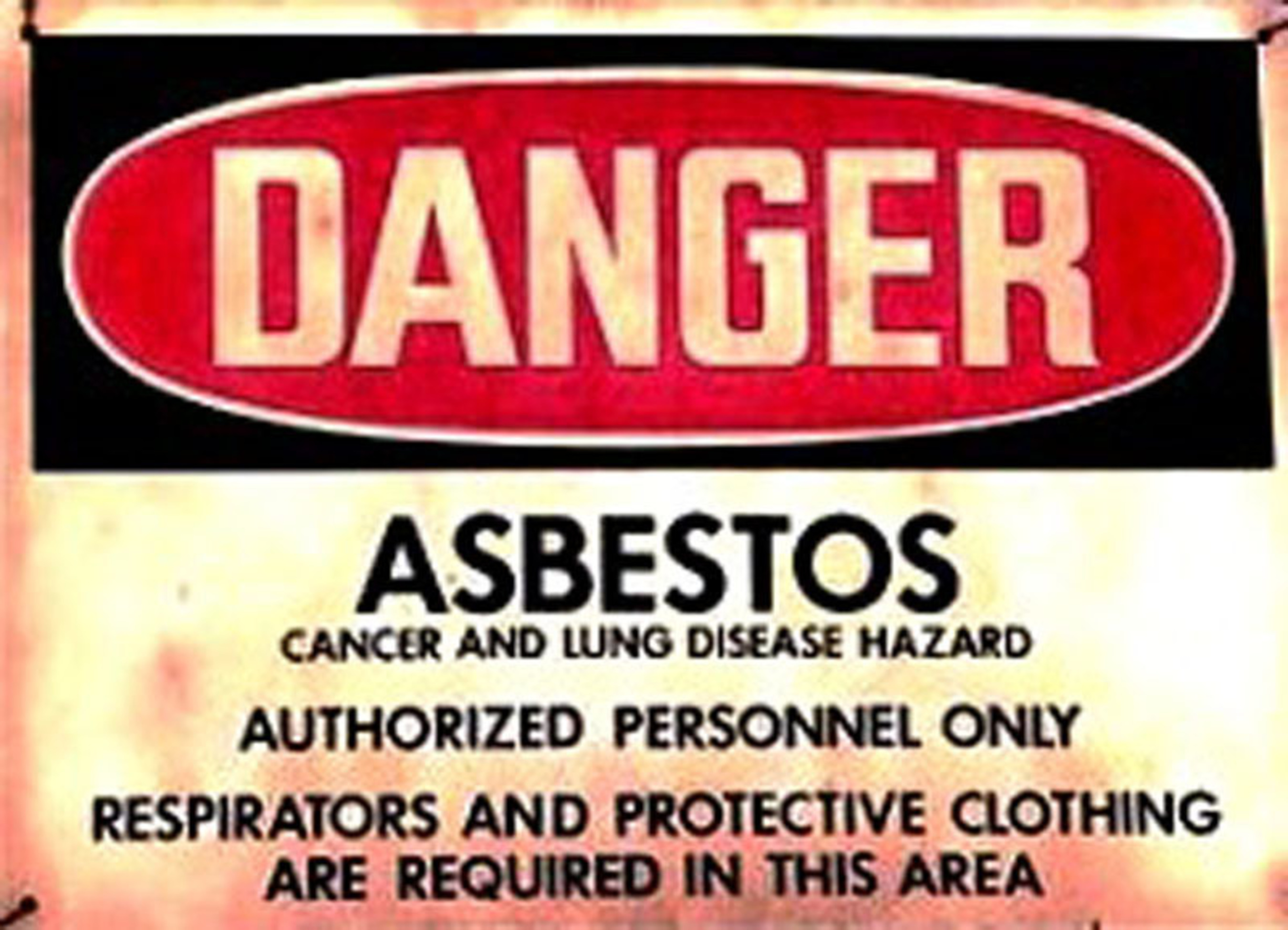 Asbestos Warning Sign.  (PRNewsFoto/Mesothelioma Victims Center)
