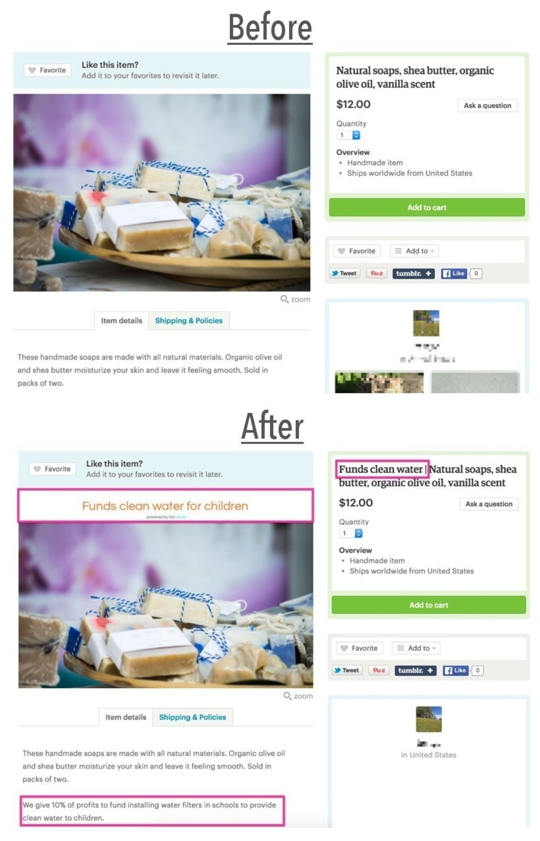 The before and after of a product listing on Etsy using the GoCause app to support a cause.