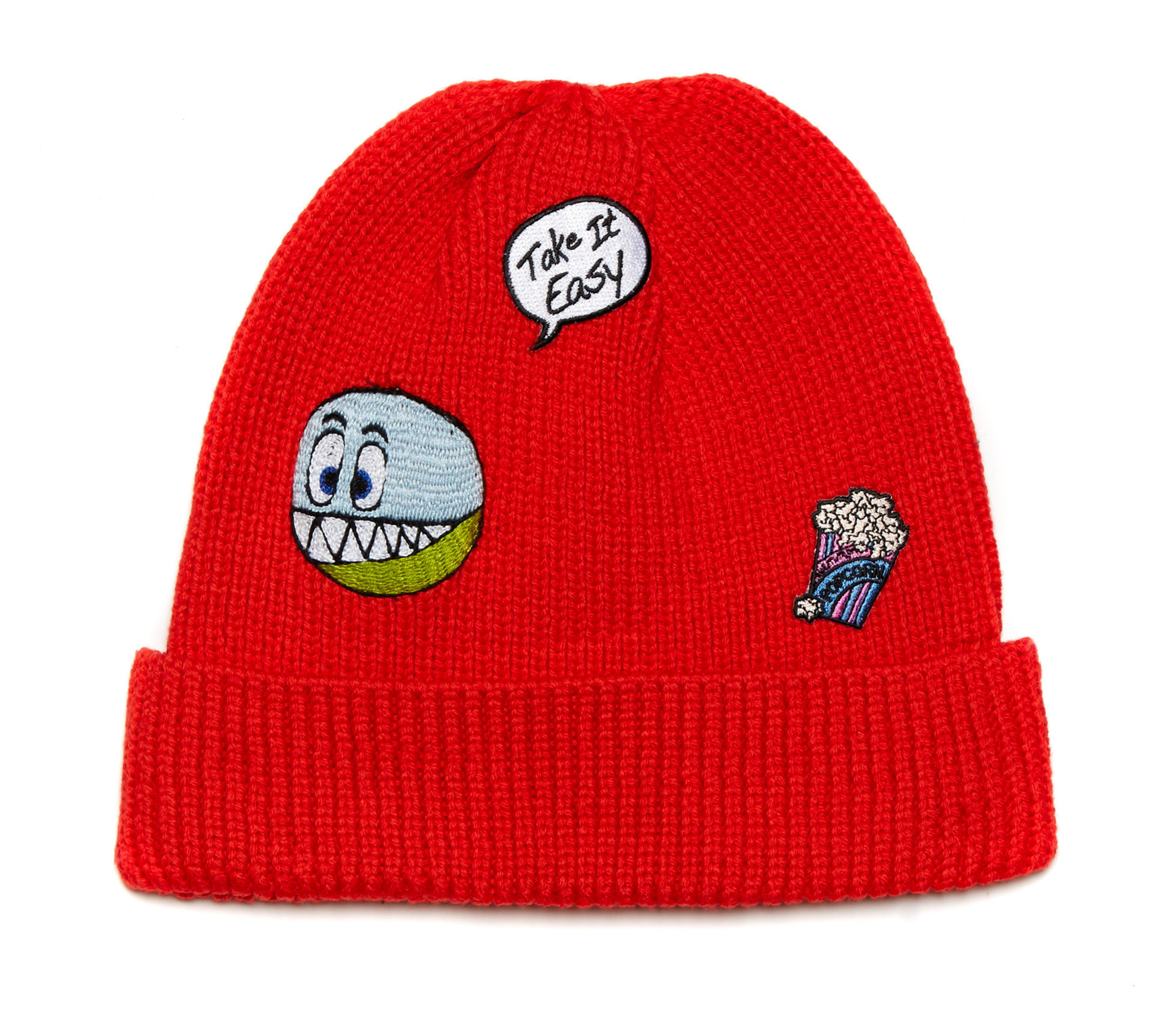 Wool Knitted Beanie with Icon Patches, $195