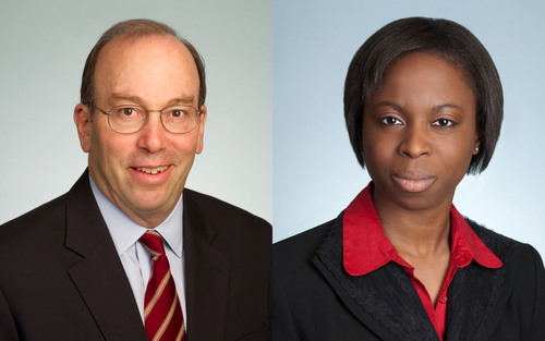Covington's Witney Schneidman and Mipe Okunseinde.  (PRNewsFoto/Covington & Burling LLP)