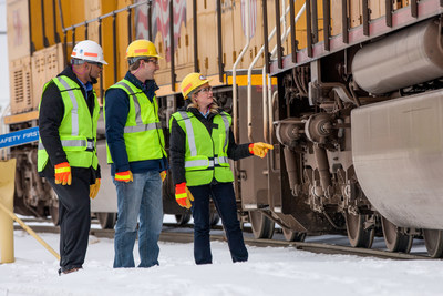 Union Pacific employees prepare a train to deliver the products that build America.