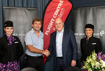 Flight Centre Travel Group Chief Executive Officer Graham Turner and Air New Zealand Chief Executive Officer Christopher Luxon.