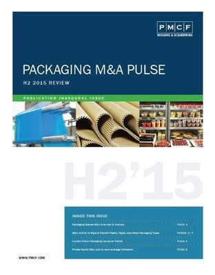 """PMCF announces its new publication """"Packaging M&A Pulse"""" covering packaging M&A in more depth beyond plastic to paper (including corrugated, labels, and folding cartons), metal, glass, and other packaging material segments."""