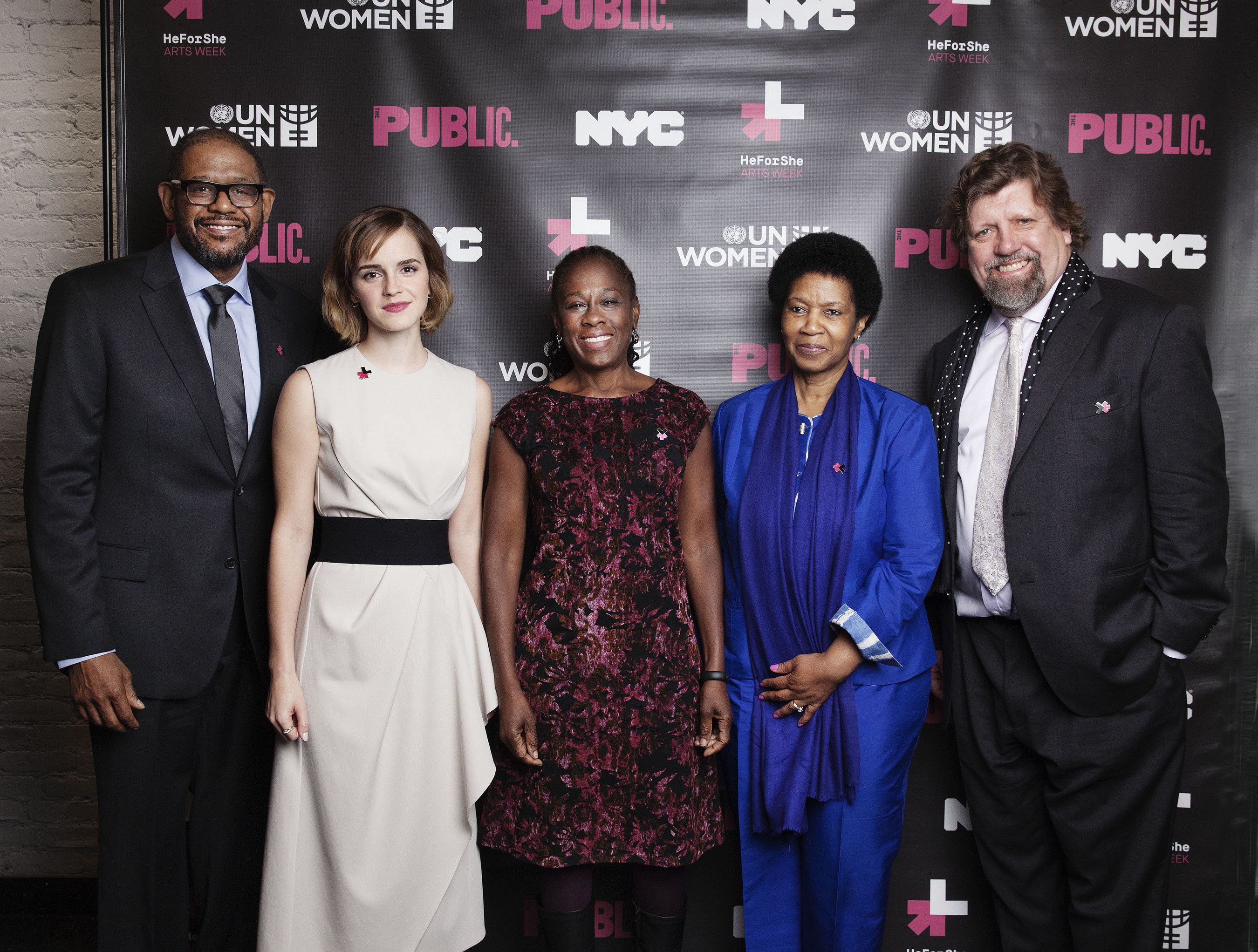 UN Women Launches HeForShe Arts Week to celebrate International Women's Day.(from left to right): SDG Advocate and UNESCO Special Envoy for Peace Forest Whitaker; UN Women Goodwill Ambassador Emma Watson; UN Women Executive Director, Phumzile Mlambo-Ngcuka; The Public Theatre's Artistic Director, Oskar Eustis