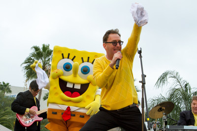 "Tom Kenny, the voice of SpongeBob SquarePants and the Hi Seas band performed for an energetic crowd at the grand opening of the new attraction, ""ICE LAND Ice Sculptures with SpongeBob SquarePants"" at Moody Gardens in Galveston, TX on Saturday"