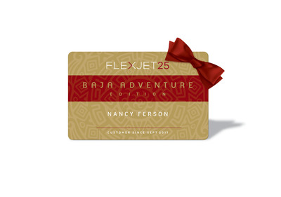 For the ultimate holiday gift, travelers can purchase the Flexjet 25 Jet Card-Baja Adventure Edition, operated by U.S. air carrier Jet Solutions. This special edition jet card features the very best in private jet travel along with an extraordinary getaway to Los Cabos, crafted by the world-renowned luxury travel experts at Abercrombie & Kent and Abercrombie & Kent Residence Club.  (PRNewsFoto/Flexjet)