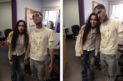 Glorisel Acevedo and Carlos Rosario, BOOM!Health Anti-stigma Zombies at the Harm Reduction Center.  (PRNewsFoto/Boom!Health)