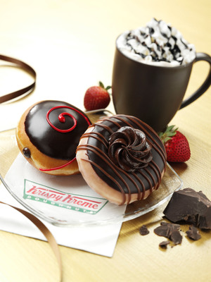Delight in the Decadently Delicious Dark Chocolate Strawberry and Double Dark Chocolate Doughnuts at Krispy Kreme.  (PRNewsFoto/Krispy Kreme Doughnut Corporation)