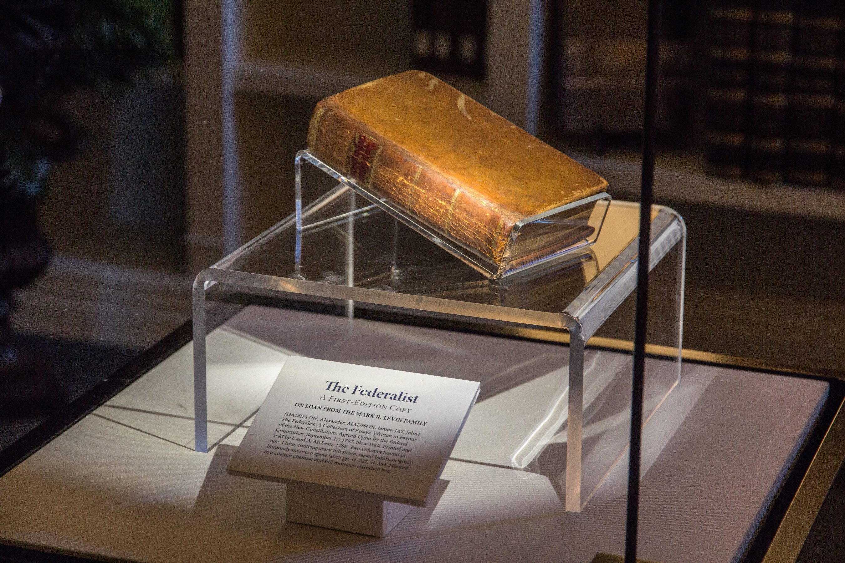 A rare, first edition copy of the Federalist Papers resides at Hillsdale College's Allan P. Kirby, Jr. Center for Constitutional Studies and Citizenship in Washington, D.C. Viewings are from 9 a.m. to 5 p.m. on weekdays.