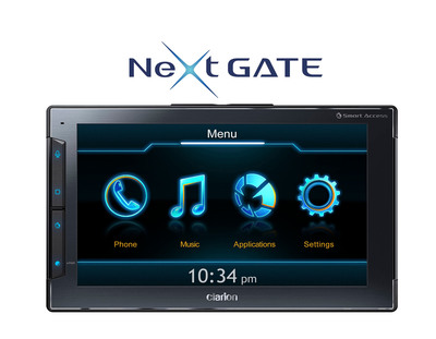 "Clarion's Next GATE helps define a revolutionary new category of in-vehicle Smartphone Controllers, leveraging the power of the iPhone allowing users to interact with select apps which are optimized for in-vehicle use. The Next GATE is the first of many Clarion products which will utilize their ""Smart Access"" Cloud Telematics Service platform. Next GATE will revolutionize the way people communicate and access information in the vehicle via their iPhone in an intuitive and user-friendly way, keeping their focus on driving.  (PRNewsFoto/Clarion)"