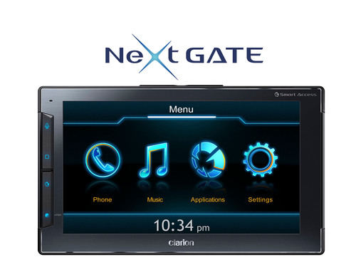 "Clarion's Next GATE helps define a revolutionary new category of in-vehicle Smartphone Controllers, leveraging the power of the iPhone allowing users to interact with select apps which are optimized for in-vehicle use. The Next GATE is the first of many Clarion products which will utilize their ""Smart Access"" Cloud Telematics Service platform. Next GATE will revolutionize the way people communicate and access information in the vehicle via their iPhone in an intuitive and user-friendly way, keeping their focus on driving.  ..."