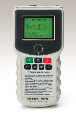 New Battery-operated, Handheld TTR from Megger Measures Turns Ratio, Polarity, Excitation Current.  (PRNewsFoto/Megger)