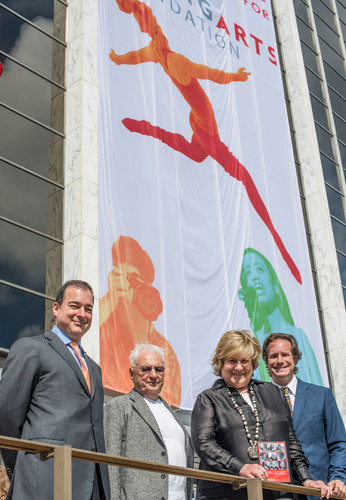 Facundo L. Bacardi, Frank Gehry, Lin Arison and Paul T. Lehr at the announcement of the new headquarters for ...