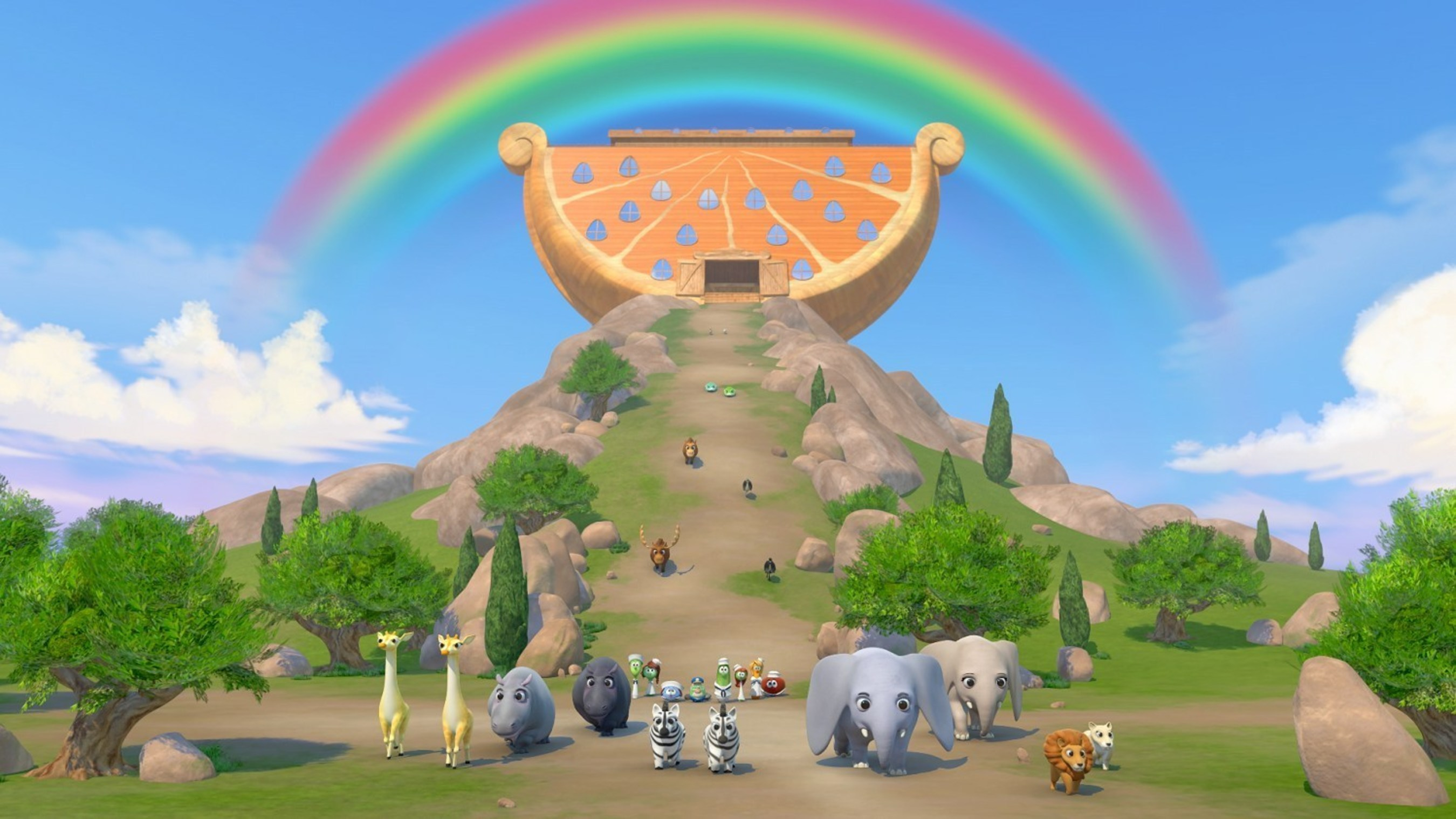 "Two by two, the earth's animals emerge from Noah's Ark after it comes to rest following 40 days and 40 nights of rain in the all-new ""VeggieTales: Noah's Ark,"" which stars the voices of Wayne Brady and Jaci Velasquez.  The newest ""VeggieTales"" musical premieres March 3, 2015, on DVD and digital download. (c) 2015 Big Idea Entertainment.  All Rights Reserved."
