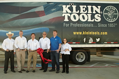 Klein Tools Opens New Heat Treating Facility in Mansfield, Texas on April 10, 2014. (From left to right: David Klein, associate product manager; Michael Klein II, directory of advanced manufacturing; Thomas R. Klein, president; Mathias A. Klein III, chairman; Derek Klein, lean coordinator; Megan Klein, associate marketing manager).  (PRNewsFoto/Klein Tools)