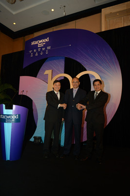 From left to right Mr. Qian Jin, President, Greater China, Mr. Vasant Prabhu, Vice Chairman and Chief Financial Officer and  Mr. Stephen Ho, President, Asia Pacific, Starwood Hotels & Resorts Worldwide, Inc.  (PRNewsFoto/Starwood Hotels & Resorts Worldwide, Inc.)