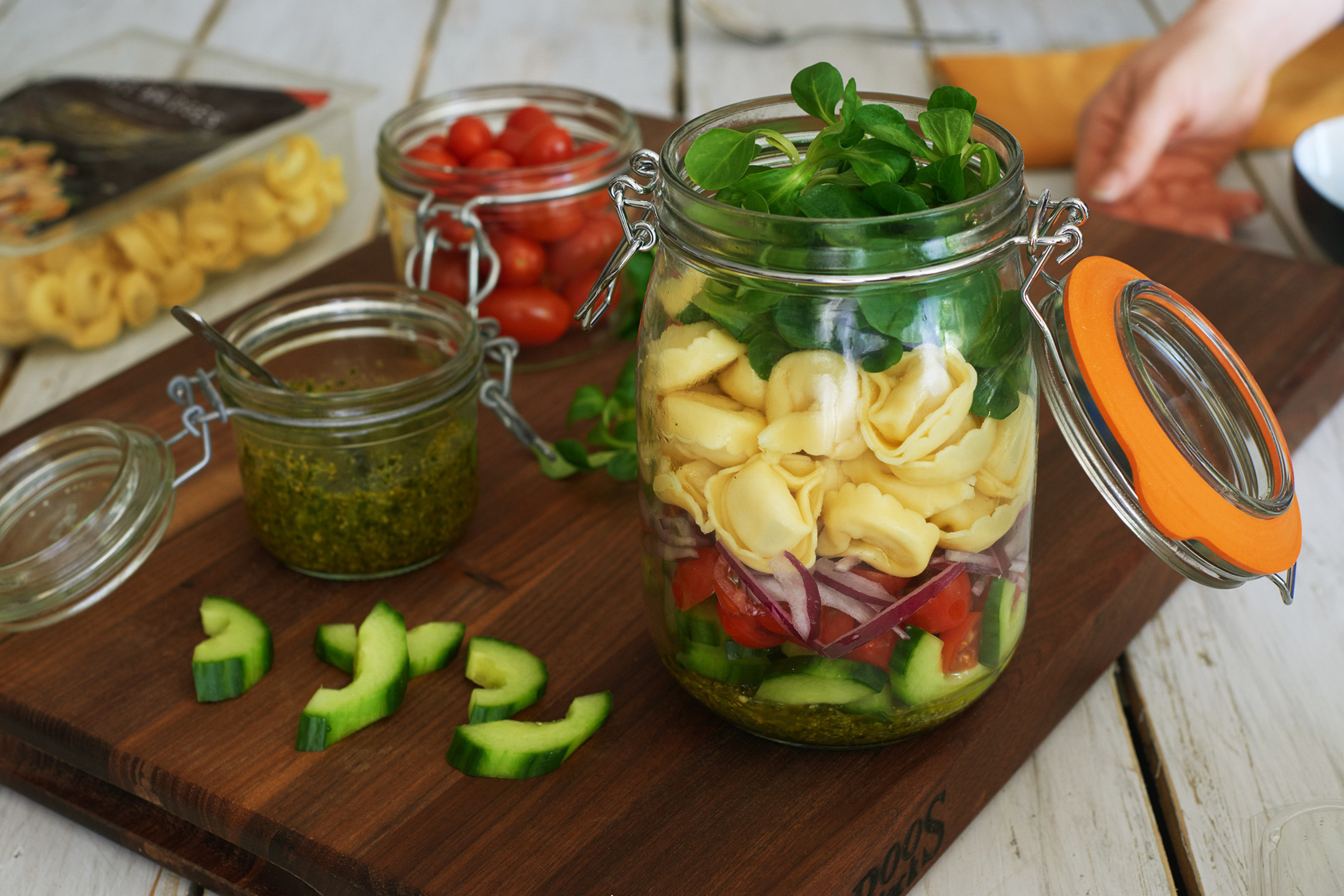 Three Bridges' Tortellini Salad in a Jar