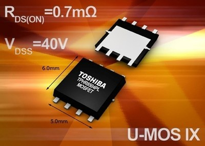Toshiba's new 40V power MOSFET U-MOS IX-H series delivers industry-leading low RDS(ON)