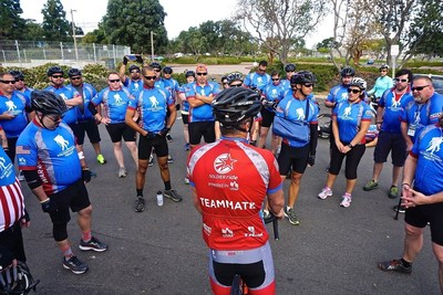 Wounded Warrior Project staff give out instructions to participants at a 2015 Soldier Ride event in California.