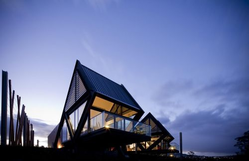 MONA Pavilions, Hobart, Tasmania, Australia. This luxury self-catered accommodation sits on the River Derwent, ...