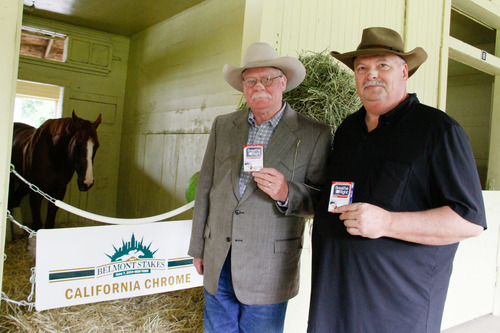 (L-R) Owners, Steve Coburn and Perry Martin with famed horse, California Chrome, sport Breathe Right nasal strips in celebration of their partnership with Breathe Right(R) at Belmont Park on June 5, 2014. (PRNewsFoto/GlaxoSmithKline Consumer ...)