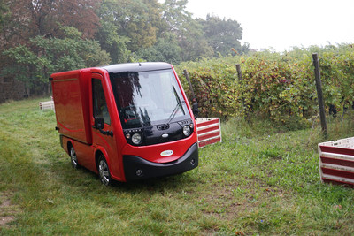 METRO(TM) All Electric Compact Utility Vehicle.  Van configuration in a vineyard.