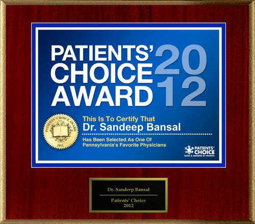 Dr. Bansal of Du Bois, PA has been named a Patients' Choice Award Winner for 2012.  (PRNewsFoto/American Registry)