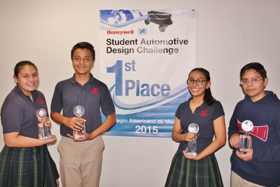 Students from Colegio Americano de Mexicali take first place in global competition focused on math and science curriculum in annual Honeywell toy car competition. From left, Valeria Hernandez, 13, Alejando Mungaray, 12,  Daniela Urrea, 12, and Adrian Perez, 12.