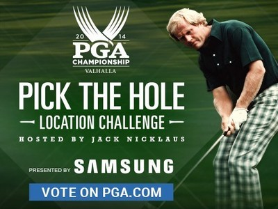 Fans are encouraged to visit PGA.com/Vote now through Aug. 9, at 7 p.m., in order to vote for one of four final-round hole locations. The hole location with the most fan votes will be used during the final round of the 96th PGA Championship on Aug. 10. (PRNewsFoto/PGA of America)