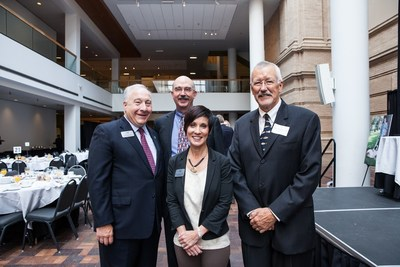 Tom Cycyota (President & Chief Executive Officer - AlloSource), Ross M. Wilkins, M.D. (President & Founder - The Limb Preservation Foundation), Stephen Withrow, DVM (Flint Animal Cancer Center) and Nicole Ehrhart, VMD (Flint Animal Cancer Center) (PRNewsFoto/AlloSource)