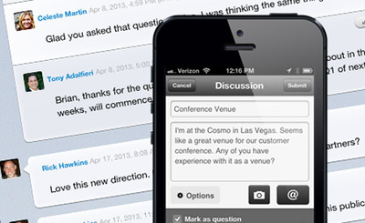 The enhanced Jive for iPhone app, now 50 percent faster, helps everyone collaborate more effectively wherever work takes them. The app moves people and projects from a noisy fire hose of irrelevant information to action and business outcomes by focusing attention through custom, automatically curated streams, highlighting final content and decisions, and making it easy to highlight what needs action by others. At the same time, it streamlines asking questions and finding answers and experts via intuitive navigation and a new slide-out side menu. Switching between working with colleagues internally and customers or partners in dedicated communities is also easy.