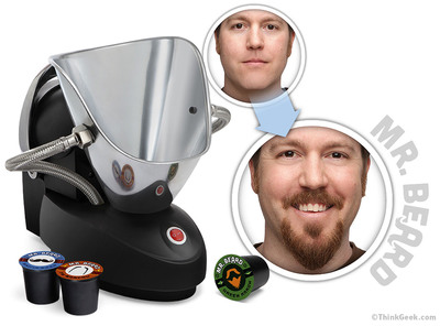 ThinkGeek's latest invention, the Mr. Beard - Beard Machine helps the facial follicle impaired grow and style their own beard and mustache. The patented technology utilizes a unique cartridge based system to apply real luxurious hair that can be left on until the wearer chooses to shave it off.  (PRNewsFoto/Geeknet, Inc.)