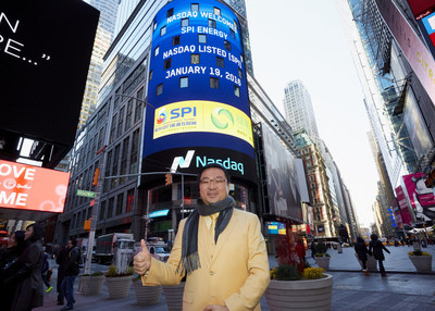 SPI Energy's Chairman Xiaofeng Peng celebrates his company's listing on the Nasdaq Stock Market on January 19, 2016.
