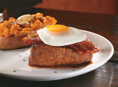 LongHorn SteakHouse's new menu offers the widest variety of steak cuts in casual dining including the exclusive new Rancher's Sirloin, a hearty steak topped with smoky bacon, a rich bordelaise sauce and a sunny-side-up egg.  (PRNewsFoto/LongHorn Steakhouse)