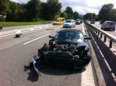 The Tesla Roadster after the crash on Sunday near Traunstein, Germany.