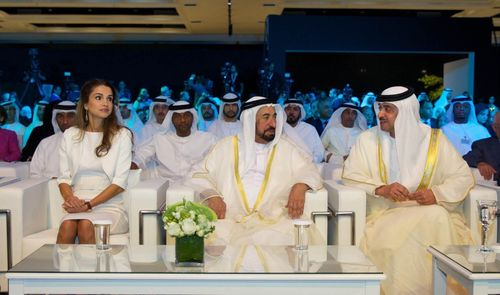 Her Majesty Queen Rania, Ruler of Sharjah (middle) and Sheikh Hazzaa Bin Zayed during the conference for Protection of Refugee Children and Adolescents. (PRNewsFoto/Sahara Communications)