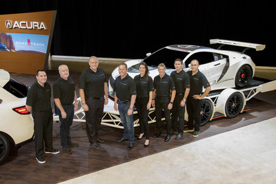 2017 Acura NSX GT3 Racing Drivers (From Left to Right): Ryan Eversley, Peter Cunningham, Art St. Cyr, Michael Shank, Katherine Legge, Oswaldo Negri Jr., Andy Lally, Jeff Segal