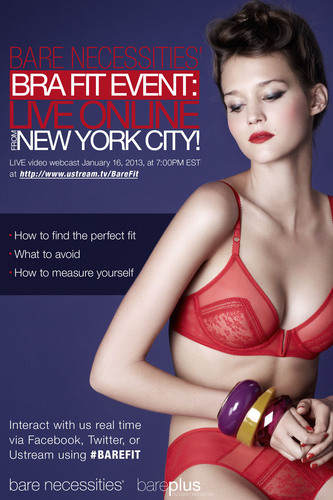 Bare Necessities' Live Bra Fit Webcast Takes Over the Web January 16, 2013.  (PRNewsFoto/Bare Necessities)