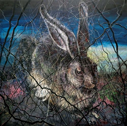 ZENG FANZHI, Hare, 2012, Oil on canvas (on 2 panels), 157 1/2 x 157 1/2 inches, 400 x 400 cm,  (c) Zeng Fanzhi ...