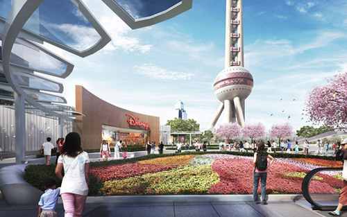 Artist impression: plaza view of the proposed Disney Store, Shanghai. (*Editor's Note: Please note that ...