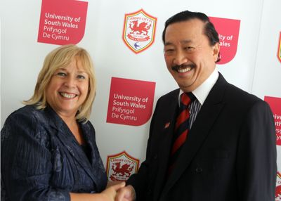 Professor Julie Lydon, Vice-Chancellor of the University of South Wales and Tan Sri Vincent Tan.