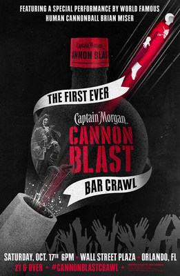 Captain Morgan launches Captain Morgan Cannon Blast, the brand's newest shot innovation, with epic Cannon Blast Bar Crawl featuring a human cannonball shot between multiple bars in Orlando, Fla.
