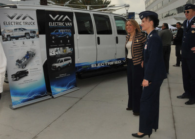 Assistant Secretary of the Air Force for Installations, Environment, and Energy Miranda A.A. Ballentine visits the Space and Missile Systems Center plug-in electric vehicle fleet unveiling at Los Angeles Air Force Base on Nov 14, 2014 with hosts SMC Vice Commander Maj. Gen. Robert McMurry and 61st Air Base Group commander Col. Donna Turner (pictured on right).  The all-electric/hybrid fleet is the first of its kind in the Dept. of Defense and will serve as a year-long test for expansion throughout the DoD.  (U.S. Air Force photo by Sarah Corrice)