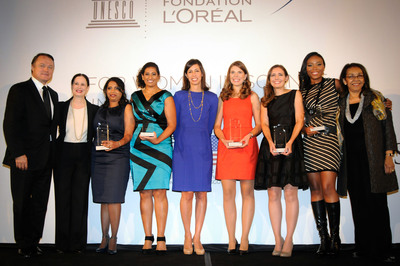 From Left to Right: Frederic Roze, President & CEO- L'Oreal USA; Suzie Davidowitz- Senior Vice President- L'Oreal USA; Arpita Bose, Harvard University- Microbiologist; Anisa Ismail, Princeton University-Molecular Biology; Jessica Rosenworcel- FCC Commissioner; Mary Caswell Stoddard, Harvard University- Evolutionary Biologist and Ornithologist; Robin Evans Stanley, National Institutes of Health- Biochemistry; Luisa-Whittaker Brooks, Princeton University- Chemical and Biological Engineering; Shirley Malcom- Head of Directorate of Education and Human Resource Program. (PRNewsFoto/L'Oreal USA) (PRNewsFoto/L'OREAL USA)