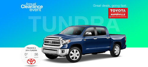 The Toyota Annual Clearance Event runs through the end of business on Sept. 2 at Toyota of Naperville. In the ...